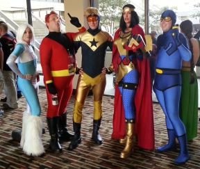 Big Barda, Blue Beetle, Booster Gold cosplay - DragonCon 2012