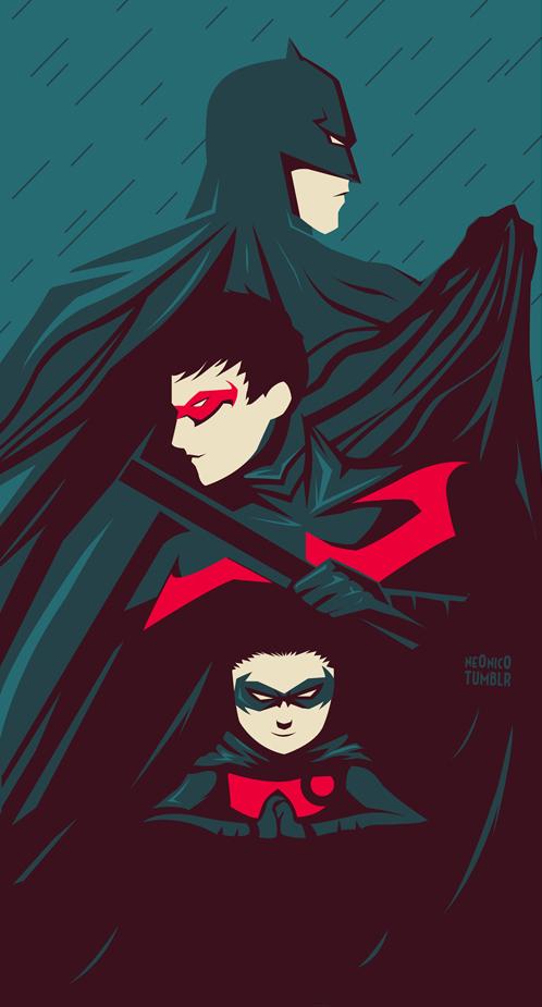 Batman, Nightwing and Robin by ne0nic0