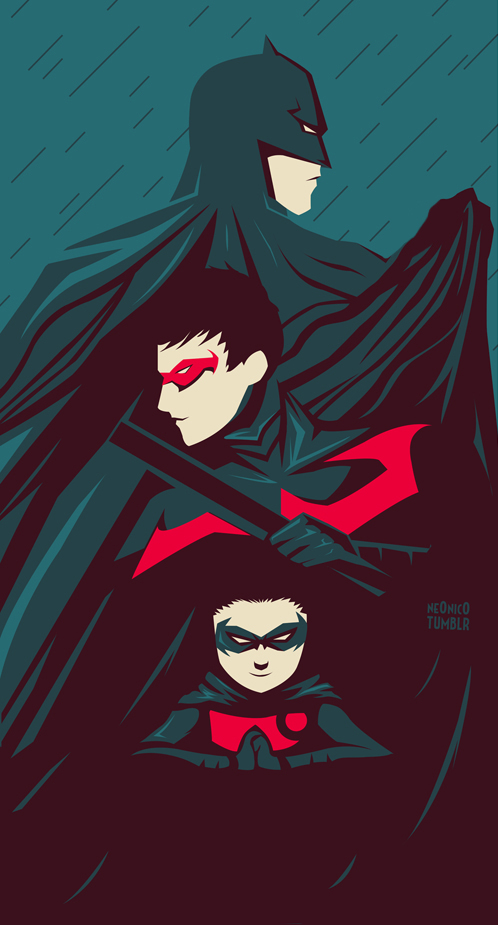 Batman, Nightwing and Robin by ne0nic0