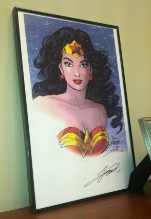Wonder Woman welcomes you to my office.