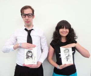 Brimpers @theanarchris and @winkonthings with their original Zdarsky art. Photo credit: @pepperbots