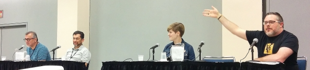 Gilbert & Jaime Hernandez (Love and Rockets), Kate Leth (Bravest Warriors), LGBT in Comics panel