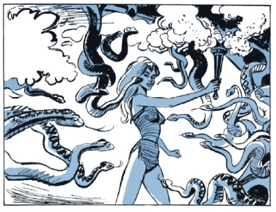 Barbarella and snakes
