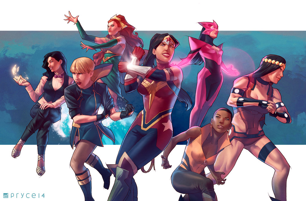 All Female JUSTICE LEAGUE by Jamal Campbell