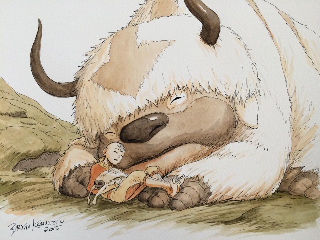 Appa Aang And Momo By Bryan Konietzko