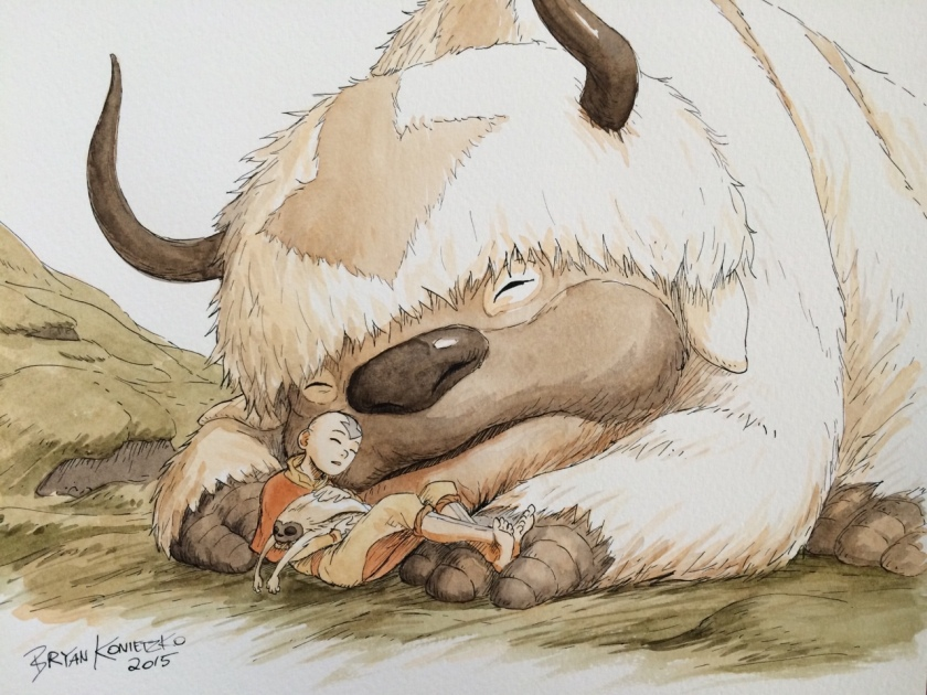 Appa, Aang and Momo by Bryan Konietzko
